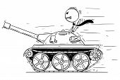 Cartoon Stick Man Drawing Conceptual Illustration Of Businessman Or Politician In Small Tank Or Tank poster