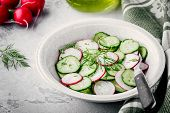 Fresh Summer Salad With Radish And Cucumber, Green Onions And Dill poster