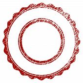 Double Rosette Circular Frame Distress Textured Template. Vector Draft Element With Grainy Design An poster