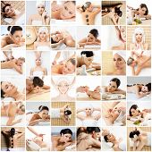 Massage And Spa Collection. Health Care, Healing And Medicine Concept. Beautiful Women In Spa. Hot S poster