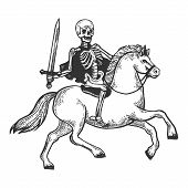Skeleton Warrior With Sword Ride Horse Engraving Vector Illustration. Scratch Board Style Imitation. poster