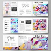 Set Of Business Templates For Tri Fold Square Design Brochures. Leaflet Cover, Abstract Flat Layout, poster