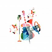 Music Colorful Background With Violoncello, Trumpet And Microphone Vector Illustration Design. Music poster