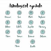 Astrology Doodle Symbols. Set Of Astrological Graphic Design Elements. Vector Icons Collection. poster