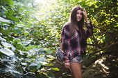 Outdoor Fashion Image Of Stylish Young Lady, Fashionable.lifestyle Portrait Of Stunning Hipster Girl poster