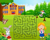Help The Girl To Find Her School, Maze Game poster