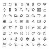 Online Market Flat Icon Set. Single High Quality Outline Symbol Of Info For Web Design Or Mobile App poster