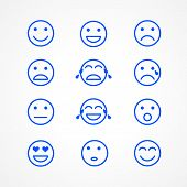 Set Of Emoticons Or Emoji Illustration Sketch Icons. Smile Icons Line Art Isolated Vector Illustrati poster