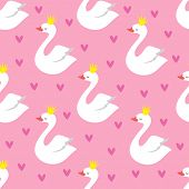 Cute Swan Princess With Crown Seamless Vector Pattern On Pink Background. Illustration Of Bird Patte poster