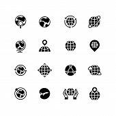 Global Communication, Globe And Geography Icons. Earth Planet, World Map And Travel Simple Vector Sy poster