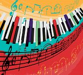 Retro Jazz Festival Poster With A Piano Keyboard In Bright Colors. Editable Vector Illustration. Por poster
