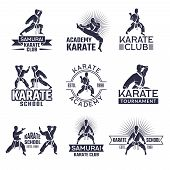 Design Of Martial Sport Labels Set. Monochrome Badges Set Isolate On White. Karate School Or Academy poster