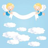 stock photo of baby-boy  - Baby baptism background with happy small angel - JPG