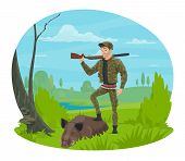Hunter With Rifle And Trophy Cartoon Icon For Hunting Sport Themes Design. Huntsman In Camouflage Un poster