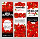 Remembrance Day Poppy Banner For World War Soldier And Veteran Memory Day Template. Red Poppy Flower poster