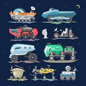 Spaceship Vector Lunar-rover Or Moon-rover And Spacecraft With Spaceman Exploring Moon Illustration  poster