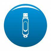 Mini Usb Icon. Simple Illustration Of Mini Usb Vector Icon For Any Design Blue poster