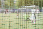 Football, Soccer Field, Soccer Gate, View From Soccer Goal Net, Blurred Stadium, Field Pitch. Soccer poster