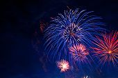 Fireworks In Sky Twilight. Fireworks Display On Dark Sky Background. Independence Day, 4th Of July,  poster
