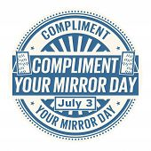 Compliment Your Mirror Day,  July 3, Rubber Stamp, Vector Illustration poster