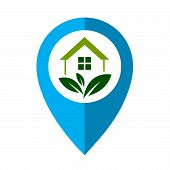 Colored Map Pointer With Symbol Eco House. For Location Map. Mark Icon. Sign For Gps Navigation. Ind poster