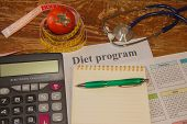 Healthy Natural Organic Food Diet, Ripe Harvest. Tomato Composition, Measuring Tape, Calculator. Die poster
