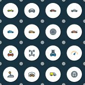Automobile Icons Colored Line Set With Gear, Sport, Garage And Other Shed Elements. Isolated Vector  poster