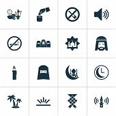 Religion Icons Set With Clock, Muslim, Adhaan And Other Meal Eaten Elements. Isolated  Illustration  poster
