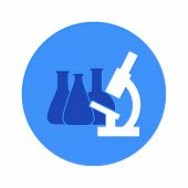 Vector Illustration Of Chemical Lab Test Tube And Microscope Icon. Micro Biology Laboratory Flask Sy poster