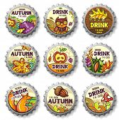 Set of cute autumnal bottlecaps  2