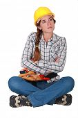 Annoyed female builder