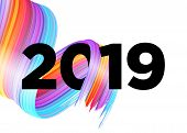 2019 Happy New Year Logo Design. Vector Background With Abstract Splash Shape. Colorful Illustration poster