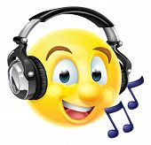 An Emoticon Emoji Wearing Headphones And Listening To Music Or Singing Along.  With Musical Notes poster