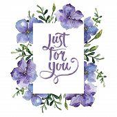 Colorful  Flax. Floral Botanical Flower. Frame Border Ornament Square. Aquarelle Wildflower For Back poster