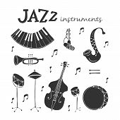 Vector Jazz Instruments Icons Isolated On White Background. Saxophone, Double Bass, Piano, Trumpet,  poster