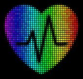 Dot Colorful Halftone Cardiology Icon In Rainbow Color Hues With Horizontal Gradient On A Black Back poster
