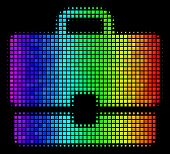 Dot Colorful Halftone Case Icon Using Spectral Color Tints With Horizontal Gradient On A Black Backg poster