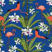 Tropical Hand Drawn Exotic Collection Seamless Pattern With Banana Palms, Orchids And Flamingos. Pac poster