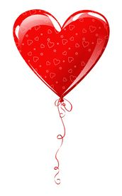picture of heart shape  - heart shaped balloon isolated on white valentine card - JPG