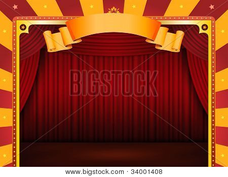 Circus Poster With Stage And Red Curtains