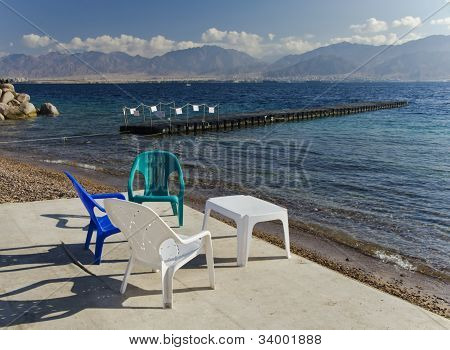 View on Eilat's southern beach, Israel