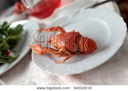 Boiled Crawfish On Plate