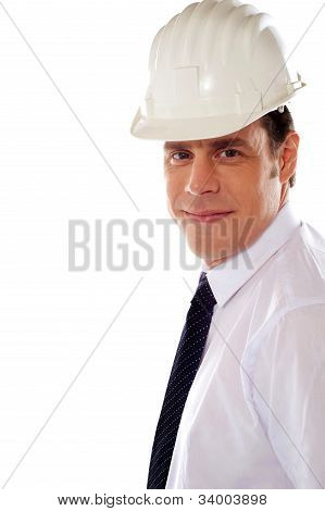 Smiling Male Architect Wearing Hard Hat
