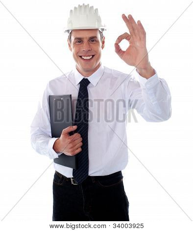 Handsome Engineer Showing Okay Gesture