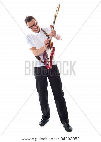 Full Shot Of A Caucasian Guitarist