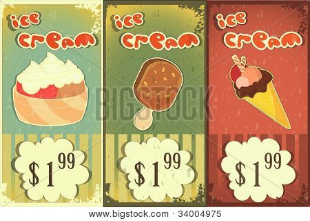 Ice Cream Labels In Grunge Style