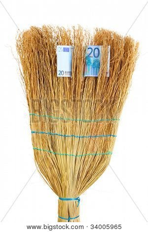 Broom sweep the euro close-up