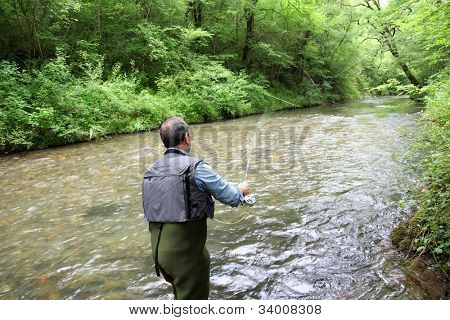 Back view of fisherman in river fly fishing
