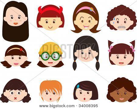 ein Thema von niedlichen Vektor-Icons: Köpfe von Mädchen, Frauen, Kinder (weibliche Set) verschiedene Figurtypen, isoliert