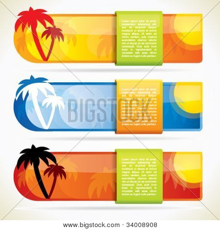 Tropical glossy vector banner set with palm trees and hot colors